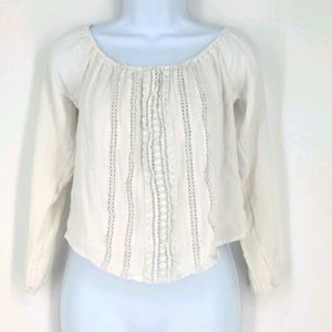 Hollister White Lace Cropped Light Blouse Top XS